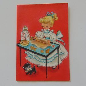 """1950's Paper Christmas Card Little """"Lady"""" Baking"""